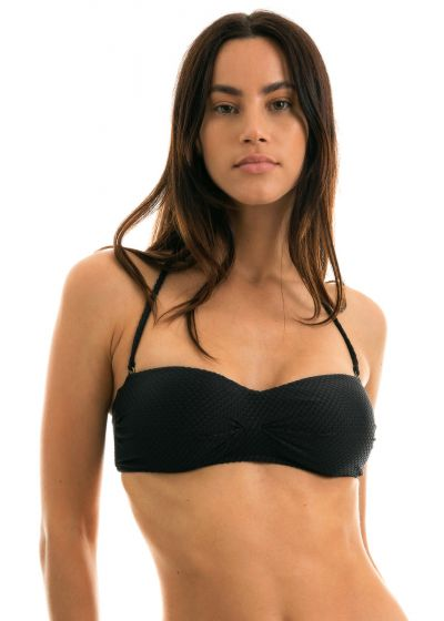 Black bandeau top textured fabric - TOP CLOQUE PRETO BANDEAU
