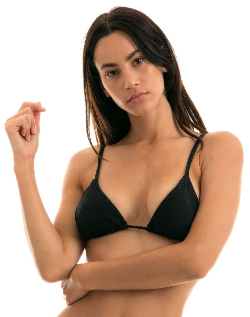 Black textured triangle top with straight straps - TOP CLOQUE PRETO CHEEKY