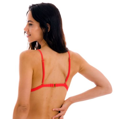 Red ribbed triangle top with adjustable straps - TOP COTELE-TOMATE TRI-FIXO