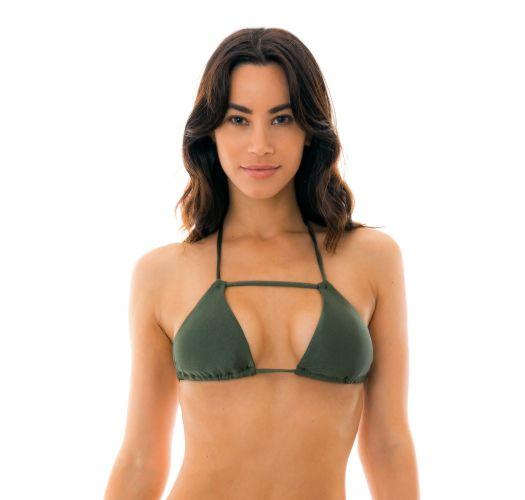 Khaki triangle bikini top with stripes - TOP CROCO DETAIL