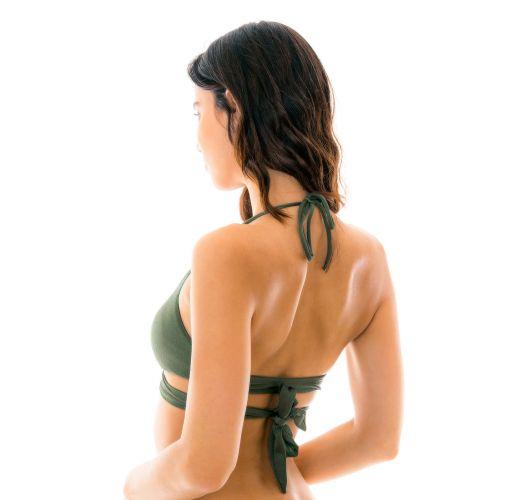 Wiązany top biustonosz do bikini - khaki - TOP CROCO TRANSPASSADO