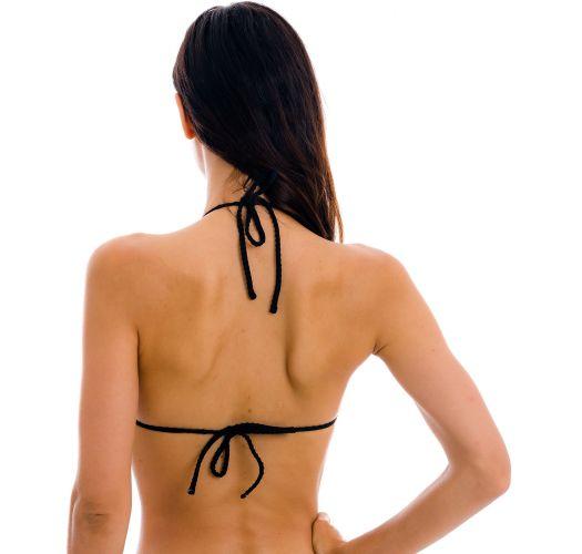 Black textured bikini top with wavy edges - TOP DOTS-BLACK TRI