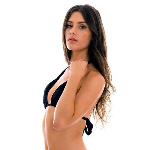 Black textured halter bikini top - TOP DOTS-BLACK TRI-MEL