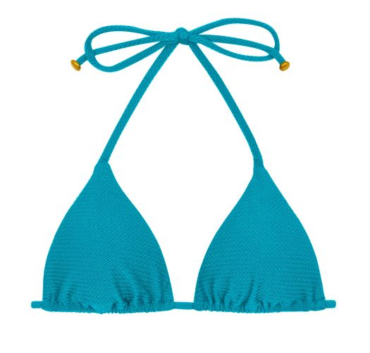 Textured triangle blue bikini top - TOP DUNA TRI FIORDE