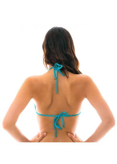 Textured triangle blue bikini top - TOP DUNA TRI FIORDE