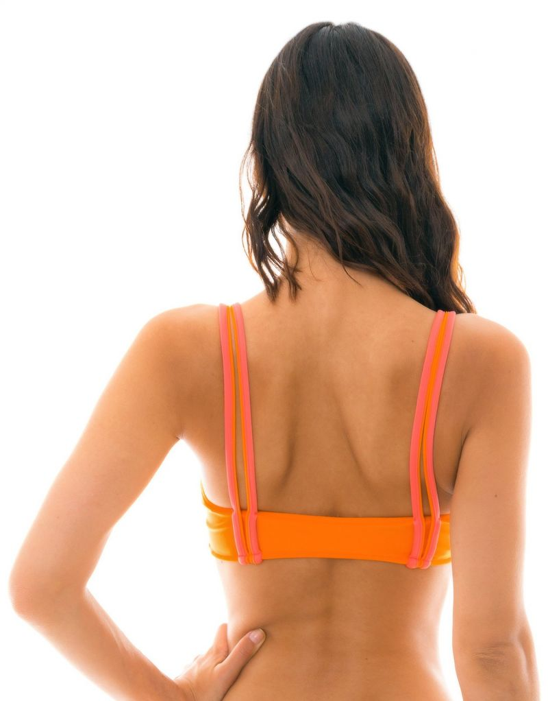 Orange bikini-bh med röda detaljer - TOP DUO ORANGE