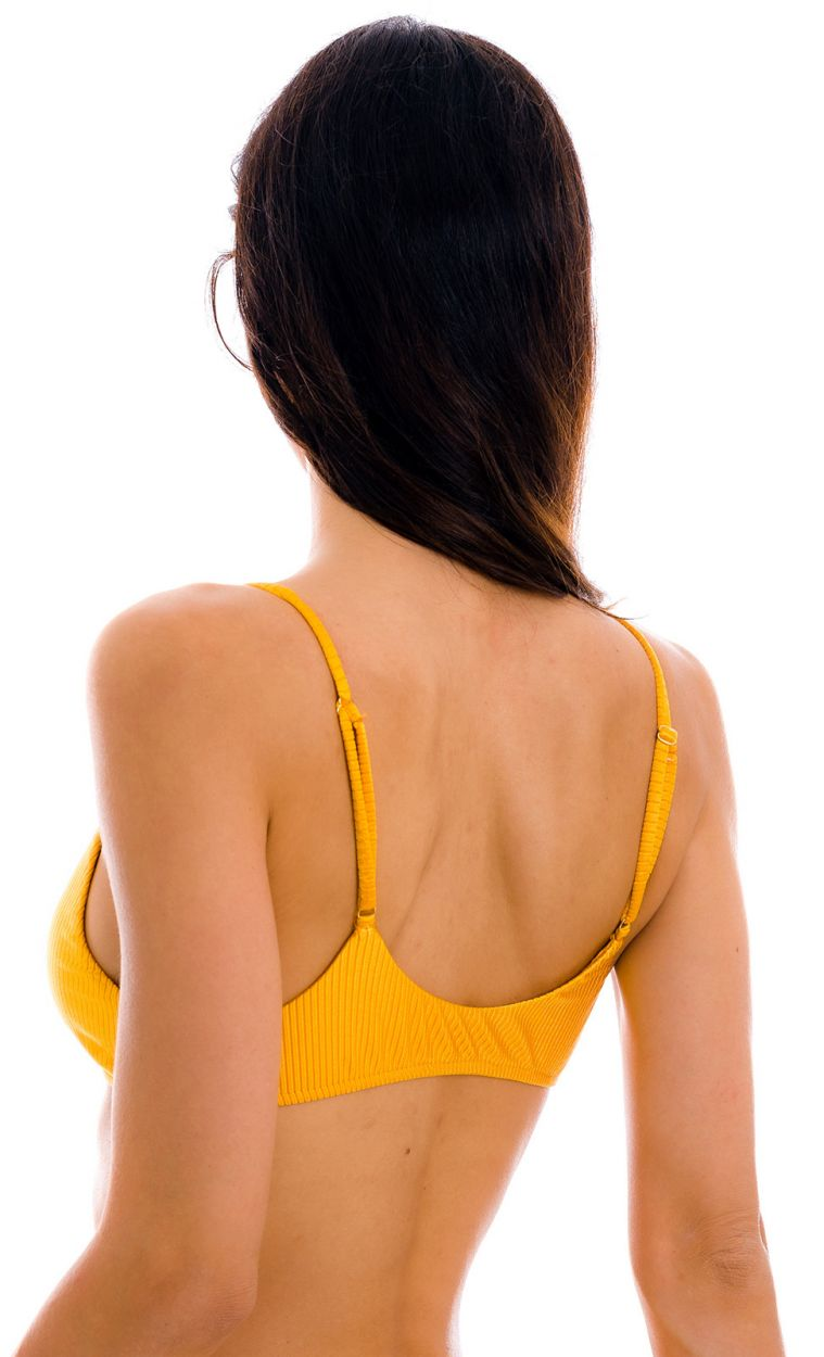 Textured yellow  bralette top - TOP EDEN-PEQUI BRALETTE