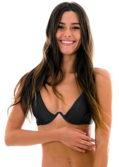 Textured black V-frame triangle bikini top - TOP EDEN-PRETO TRI-ARO