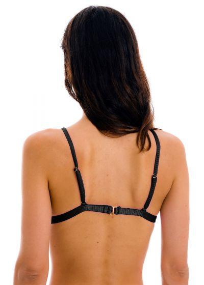 Textured black adjustable triangle bikini top - TOP EDEN-PRETO TRI-FIXO