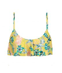 Yellow floral ruffled bikini top - TOP FLORESCER BABADO