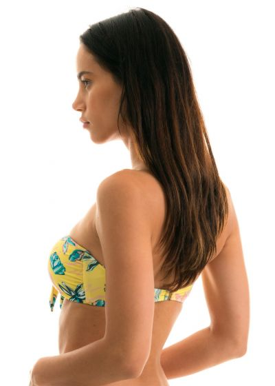 Yellow floral bandeau top with front knot - TOP FLORESCER BANDEAU