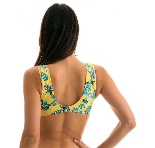 Yellow bra top with front knot in floral print - TOP FLORESCER HIGHLEG