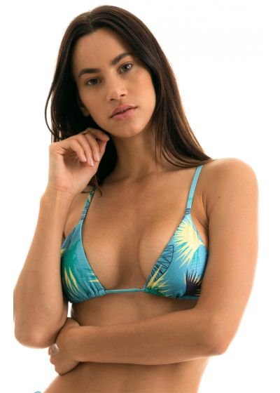 Blue floral triangle top with straight straps - TOP FLOWER GEOMETRIC INVISIBLE