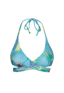 Blue graphic wrap bikini top - TOP FLOWER GEOMETRIC TRANSPASSADO