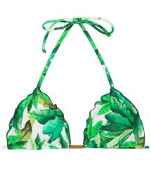 Leaves print triangle bikini top - TOP FOLHAGEM FRUFRU