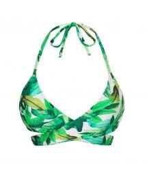 Grön, lövmönstrad bikinitopp i behåmodell - TOP FOLHAGEM TRANSPASSADO