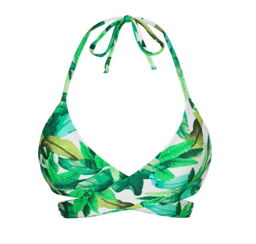 Green leaves bra bikini top - TOP FOLHAGEM TRANSPASSADO