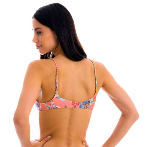 Coral pink printed bralette top with braided straps - TOP FRUTTI BRALETTE