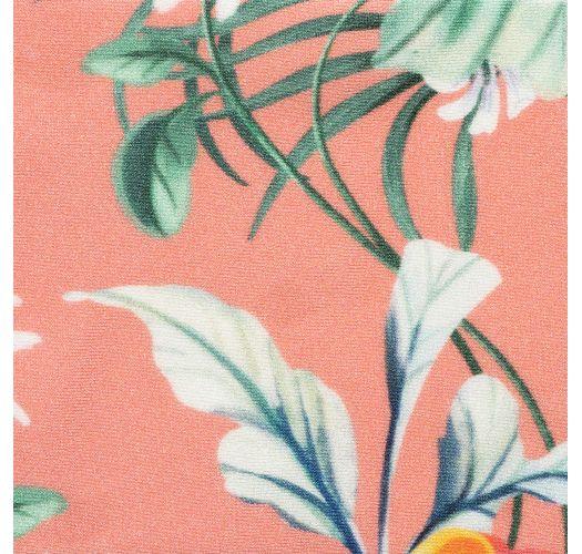 Coral pink print adjustable triangle bikini top - TOP FRUTTI TRI-FIXO