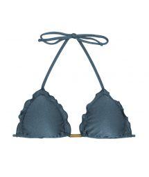 Steel blue triangle bikini top with wavy edges - TOP GALAXIA FRUFRU