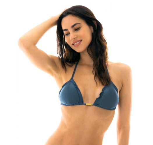 Steel blue triangle bikini top with wavy edges - TOP GALAXIA FRUFRU