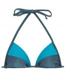 Blue tones textured triangle bikini top - TOP GALAXIA RECORTE TRI
