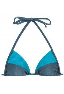 Haut triangle bleu ardoise et bleu texturé - TOP GALAXIA RECORTE TRI