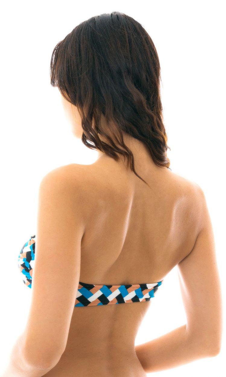 Geometric print bandeau bikini top - TOP GEOMETRIC RETO