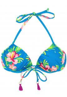 Bikini Top, blau mit Blumen und Pompons - TOP HOOKERI BALCONET