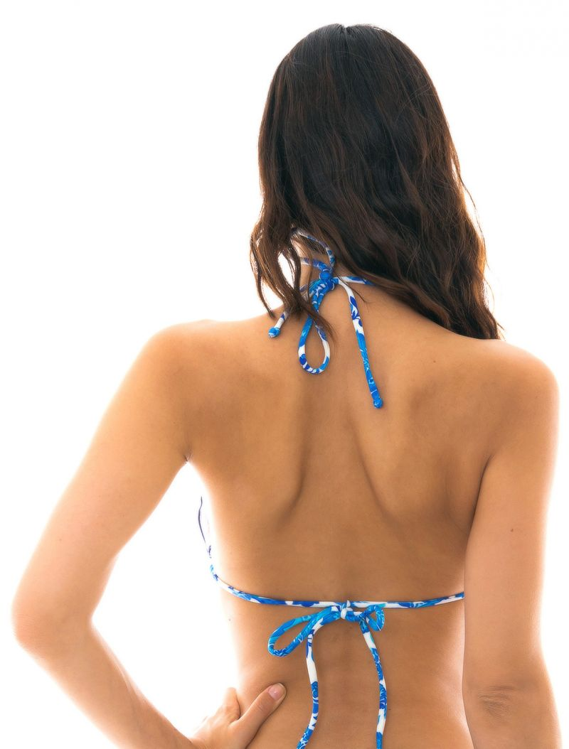 Blue and white triangle bikini top with wavy edges - TOP HORTENSIA FRUFRU