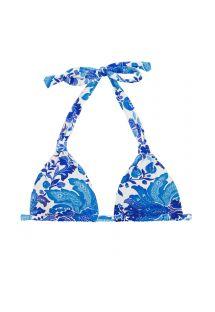 Triangle Bikini Top, Halstuchform, Blumenmotiv blau/weiß - TOP HORTENSIA MEL