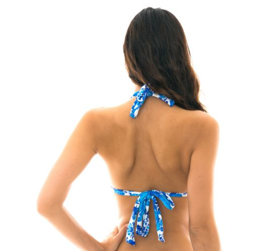 Blue and white halter bikini top - TOP HORTENSIA MEL