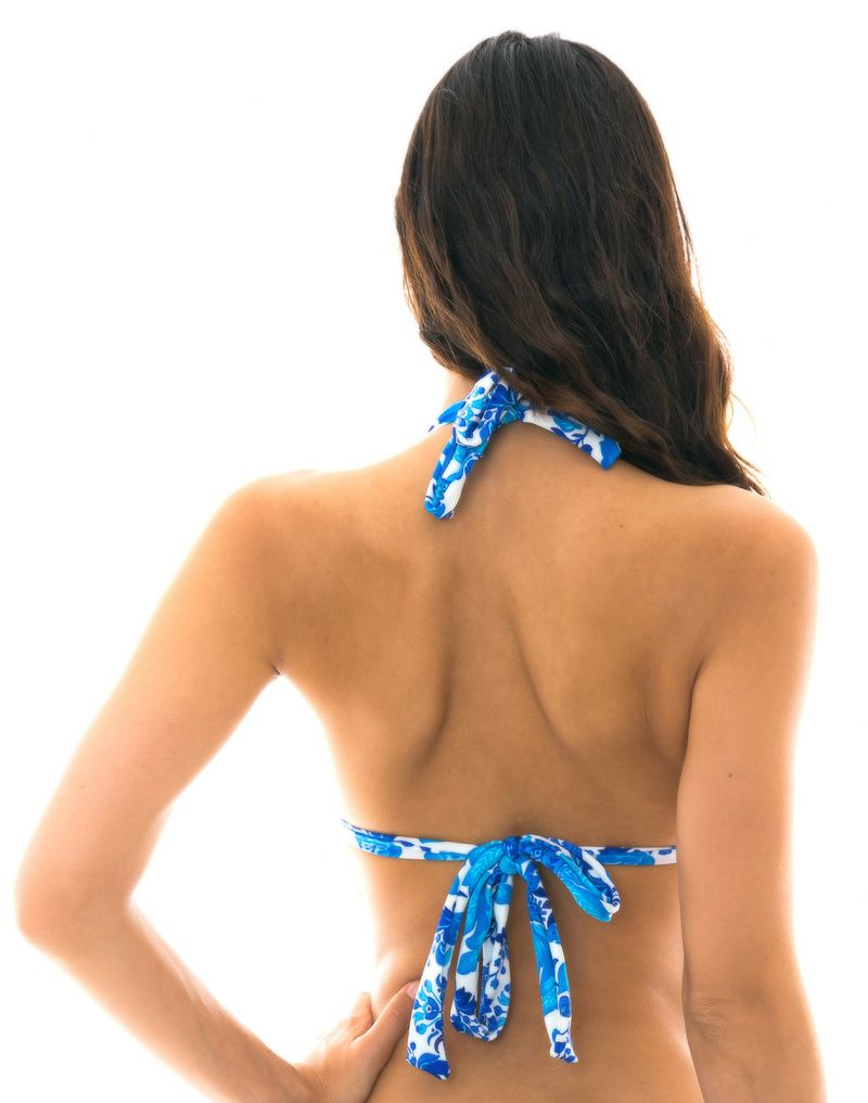 Blue and white halter bikini top - TOP HORTENSIA MEL