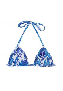 Floral white and blue triangle top - TOP HORTENSIA MICRO