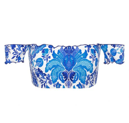 Crop Top Off Shoulder, Blumenmotiv blau/weiß - TOP HORTENSIA OFF SHOULDER