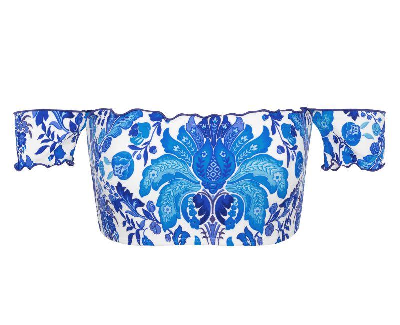 Blå/vit blommönstrad kort off shoulder-topp - TOP HORTENSIA OFF SHOULDER