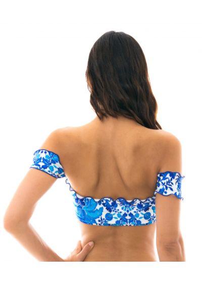 Crop Top Off Shoulder, Blumenmotiv blau/weiß - TOP HORTENSIA OFF SHOULDER