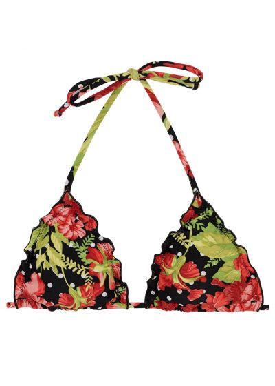 Triangle top wavy edges in flowers and polka dot print - TOP ILHA BELA FRUFRU