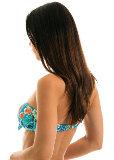 Floral blue bandeau top with front knot - TOP ISLA BANDEAU