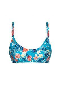 Floral blue adjustable bra bikini top - TOP ISLA BRA