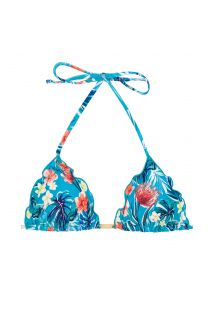 Wavy floral blue triangle top - TOP ISLA FRUFRU