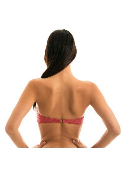 Brick color bandeau bikini top textured fabric - TOP KIWANDA MADRAS BANDEAU