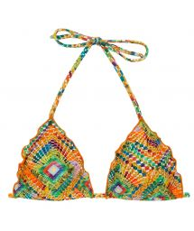Triangle top wavy edges in colorful geometric print - TOP LAMPEDUSA FRUFRU