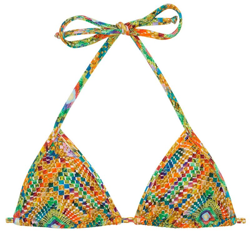 Triangle sliding top in colorful geometric print - TOP LAMPEDUSA MICRO