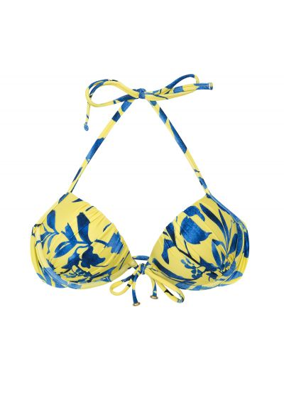 Yellow and blue print push up balconette top - TOP LEMON FLOWER COMFORT
