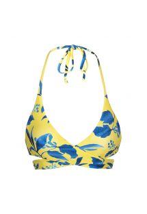 Top do bikini w żółto-niebieski wzór - TOP LEMON FLOWER TRANSPASSADO