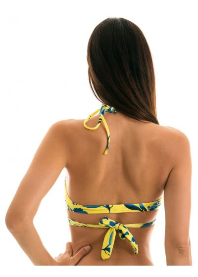 Yellow and blue print wrap bikini top - TOP LEMON FLOWER TRANSPASSADO