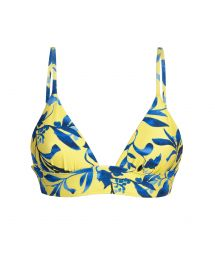 Yellow bra bikini top with plant print and laced back - TOP LEMON FLOWER TRI COS