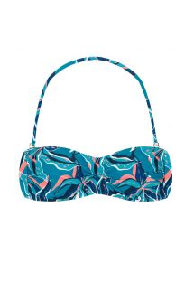 Blue and pink printed bandeau top - TOP LILLY BANDEAU