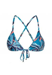 Blue and pink printed triangle top with front tie - TOP LILLY TRI ARG